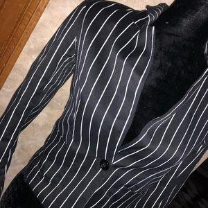 striped b&w blazer